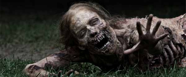 The Walking Dead zombie lady production still